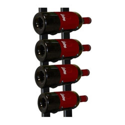 Vinotemp - Epicureanist Metal Wine Rack - Wall mount installation. Made from metal. Black color. Capacity: 9 bottles. 5.25 in. W x 5.25 in. D x 35.75 in. H (3.5 lbs.). No assembly required. 3-5 days lead time. Sturdy construction. Unique wire rack consists of two identical racks that cradle each end of the body of bottle for a dazzling display. Can be fastened to almost any wall or inside of a wine cabinet. Artfully displays bottles with the labels visible for show. Warranty