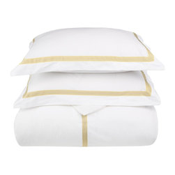 Miller Full/Queen Duvet Cover Set Cotton - White/Gold - Miller Full / Queen Duvet Cover Set Cotton - White / Gold