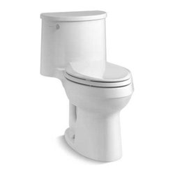 """Kohler - Kohler K-3946-0 White Adair Adair Comfort Height One-Piece Compact - Adair One-Piece Elongated Comfort Height toilet with 1.28 GPF and 12"""" Rough-In and Q3 Cachet Grip-Tight, Quiet Close seat. Featuring a striking organic design inspired by the windswept rock formations of Sedona, Arizona. A slim tank and pared-down oval forms make this compact, high-efficiency toilet perfect for smaller spaces. A 1.28-gallon WaterSense approved flush provides significant water savings of up to 16,500 gallons per year, compared to a 3.5-gallon toilet, without sacrificing performance. Features:  One-piece toilets integrate the tank and bowl into a seamless, easy-to-clean design Elongated bowl offers added room and comfort Water Saving 1.28 gallons per flush (gpf) Comfort Height feature offers chair-height seating that makes sitting down and standing up easier for most adults 2-1/8-inch glazed trapway for an efficient, cleaning flush Standard left-hand Polished Chrome trip lever included Includes Q3 Cachet Grip-Tight Quiet-Close seat with Quick-Release functionality allows seat to close quietly and quickly unlatch from the toilet for easy removal and convenient cleaning Supply line not included 12 Inch Standard Rough-In  Technology:  Single-flush gravity uses the force of gravity and a precision-engineered tank, bowl, and trapway to create a strong siphon during flushing Canister flush valve optimizes flush performance and resists warping and deterioration Class Five flushing technology offers plug- and leak-free performance, extraordinary flushing, and better rinsing power for a cleaner bowl"""