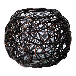 New Rustics - New Rustics Patina Woven Round Rattan Candle Holder - Get tangled up in all things chic with this striking candle holder from New Rustics. Carefully handcrafted from black-finished rattan, it features a crisscross design that's lively and energetic. A clear glass votive protects the exterior from flames, so you can enjoy the warm glow without worry. Available in multiple sizesRattan / glassHandmade