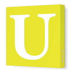 "Avalisa - Letter - Upper Case 'U' Stretched Wall Art, 28"" x 28"", Yellow - Spell it out loud. These uppercase letters on stretched canvas would look wonderful in a nursery touting your little one's name, but don't stop there; they could work most anywhere in the home you'd like to add some playful text to the walls. Mix and match colors for a truly fun feel or stick to one color for a more uniform look."