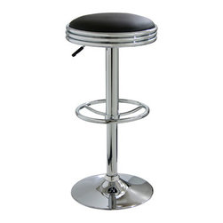 New Buffalo Corp. - Amerihome Soda Fountain Style Bar Stool - Black - The Amerihome Soda Fountain Style Bar Stool lends a cool retro vibe to any game room, basement, bar, kitchen, or shop. The bar stool has a design reminiscent of the days of diners and drive-ins, and features a mirror like polished chrome base and a Black vinyl seat for a hint of vintage retro style.