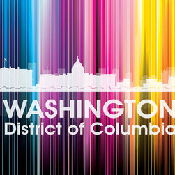 Washington, DC, Vertical Lined Rainbow Print - The capital of the United States shines bright in a rainbow of color. Show off a little city pride with the digital and photographic layers on this mixed-media art that captures all of its vibrancy.