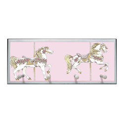 illumalite Designs - Toile Carousel Plaque with Pegs - Includes hardware for hanging. Four painted wooden pegs. Hand painted white border. Ready to be hung. Made from wood. Made in USA. 25.5 in. W x 4 in. D x 10 in. H (4 lbs.)This unicorn carousel plaque in pastel colors will delight any girl! This plaque is the perfect way to decorate any little girl's room.