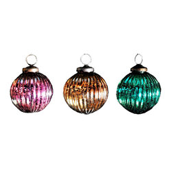 Mercury Glass Ribbed Ball Boxed, Set of 3 Jewel Tones