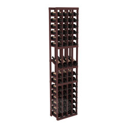 4 Column Display Row Cellar Kit in Pine with Walnut Stain - Make your best vintage the focal point of your wine cellar. Four of your best bottles are presented at 30° angles on a high-reveal display. Our wine cellar kits are constructed to industry-leading standards. You'll be satisfied with the quality. We guarantee it.