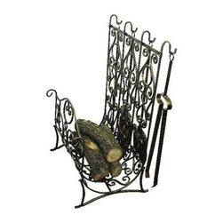 "Dr. Livingstone I Presume - Faux Antique Brass Log Holder with Tools by Dr. Livingstone I Presume - This classic Mediterranean influenced iron and tole log holder with its antique brass scrolls and traditional motif is a must for your stately stone fireplace. With its graceful rolling frame and useful tool set, this fire screen by Dr. Livingstone can be perfect complement to your timeless interiors. It's five piece construction makes its beauty and function a must for most hearths when amber lights are glowing. (DLIP) 20"" wide x 19"" deep x 33"" high"
