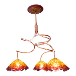 """Primo Glass - Blown Glass Chandelier - Art Glass Lighting - Chandelier - Lighting - Copper - Please note that this sale is for a one of a kind custom """" to be built """" chandelier that will have slight differences from the chandelier shown in the listing photos. We handcrafted this chandelier using a natural copper twisted frame, with crushed amber & red wine blown glass shades that were made in our glass studio here in the USA. This stunning chandelier is sure to brighten any space. The lighting source consists of a standard medium base ( 100 watt max ) light socket in the center of each shade. Chandelier will be shipped with 60 watt dimmable LED light bulbs that will last for 20,000 hours or longer, and also includes a custom made matching glass ceiling medallion. All electrical components are UL listed. Primo Glass chandeliers are high quality collectible works of functional art, signed by the artists, and come with a certificate of authenticity."""