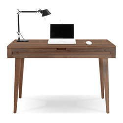 Jesper Office Furniture - Highland 75 Small Desk with Wood Legs in Walnut - Features: