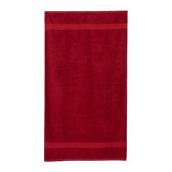 """PB Essential Pool Towel, Cherry Red, Personalized - Woven of plush 650-gram-weight cotton and combed for extra softness, this ultra-absorbent towel is an affordable luxury. Dobby weaving along the edges adds a stylistic flair. 32 x 64"""" Made of pure cotton terry. Ultraplush 650-gram weight. Machine wash. Monogramming is available at an additional charge. Monogram is 3"""" and will be centered at one end of the beach towel. Internet only. Imported."""