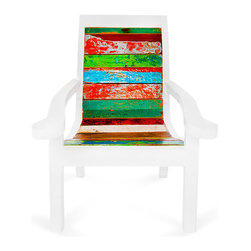 EcoChic Lifestyles - Pacific Bliss Reclaimed Wood Chair - The soothing curves of the Pacific Bliss chair will send you straight into a state of repose. Marine-grade wood reclaimed from fishing boats is the most durable around and will not let you down, rain or shine. A beautiful addition to your sun deck or a focal point in your sitting room.