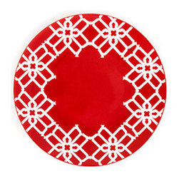 B by Brandie - Red Truman Appetizer & Dessert Plate - nspired by Truman Capote's legendary joie de vivre with the toast of the town, this bold salad plate helps set the stage--and the table--for a sophisticated statement.