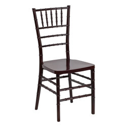 Flash Furniture - Flash Elegance Mahogany Resin Stacking Chiavari Chair - If you've been to a wedding, chances are you've sat in a Chiavari chair. Chiavari Chairs have become a classic in the event industry and are also highly popular in high profile entertainment events. This chair is used in all types of elegant events due to its lightweight, stacking capabilities and elegant design. Keep your guests comfortable with optional cushions and keep your chairs beautiful with chair covers.