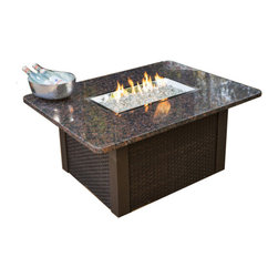 The Outdoor Greatroom - Grandstone Chat Height Gas Fire Pit Table With Black Wicker Side Panels - Simply durable and beautiful, the Grandstone fire pit table features a classic design. Black metal base with black wicker side panels, and an elegant absolute black granite top. Really enhance your backyard with this beautiful fire pit table. This fire pit table comes with a rectangular 24x12 inch stainless steel Crystal Fire Burner that will truly light up the night and add warmth to your outdoor space. These burners are made from high quality stainless steel and include tempered, tumbled glass, an LP hose and regulator, a metal flex hose, a gas valve, and a push button sparker. With just a push of a button, a beautiful clean-burning fire appears atop a bed of highly reflective Diamond glass fire gems. All burners are shipped with orifices for LP or NG fuels and are UL approved for safety and quality. Adjust the flame height to your desired setting and enjoy the magic and ambience of a warm glowing fire.
