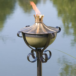 Brass Accented Zinc Garden Torch with Scroll Yard Stake - Weathered Zinc - This Brass Accented Zinc Torch features a delightfully shaped stand, sure to add character to any patio while providing soft light and an insect-free zone.