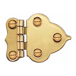 Renovators Supply - Cabinet Hinges Solid Brass Hoosier Offset Cabinet Hinge Pair | 49016 - This Hoosier hinge is made from stamped solid brass. Its length from tip to tip is 1 1/2 in. ; its overall length is 2 1/4 in. x 1 1/2 in. The width of offset is 3/8 in. These are sold in pairs.