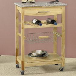 "Linon - Ledgeview Kitchen Cart with Granite Top - Features: -Gorgeous grey and white granite top.-Large utensil drawer.-Wine rack accommodates 4 bottles.-Wire basket perfect for frequently used items.-Slatted open shelf.-Casters for easy mobility.-Brushed nickel hardware.-Attractive way to add extra space to your kitchen.-Product Type: Kitchen Cart.-Counter Finish: Granite.-Hardware Finish: Gold/silver.-Distressed: No.-Powder Coated Finish: No.-Gloss Finish: No.-Base Material: Pine and MDF.-Counter Material: Granite.-Hardware Material: Metal.-Solid Wood Construction: No.-Number of Items Included: 1.-Stain Resistant: No.-Warp Resistant: No.-Exterior Shelves: Yes -Number of Exterior Shelves: 1.-Adjustable Exterior Shelving: No..-Drawers Included: Yes -Number of Drawers: 1.-Push Through Drawer: No.-Dovetail Joints: No.-Drawer Dividers: No.-Drawer Handle Design: Pull handle.-Silverware Tray : No..-Cabinets Included: No.-Number of Baskets: 1.-Towel Rack: No.-Pot Rack: No.-Spice Rack: No.-Cutting Board: Yes.-Drop Leaf: No.-Drain Groove: No.-Trash Bin Compartment: No.-Stools Included: No.-Casters: Yes -Locking Casters: Yes.-Removable Casters: No..-Wine Rack: Yes -Wine Rack Capacity: 4.-Removable Wine Rack: No..-Stemware Rack: No.-Cart Handles: No.-Finished Back: Yes.-Shelf Weight Capacity: 15 lbs.-Swatch Available: No.-Commercial Use: No.-Recycled Content: No.-Eco-Friendly: No.-Product Care: Clean with mild detergent.Specifications: -ISTA 3A Certified: Yes.Dimensions: -Overall Height - Top to Bottom: 33.875"".-Overall Width - Side to Side: 22.8"".-Overall Depth - Front to Back: 15.625"".-Width Without Side Attachments: 22.8"".-Countertop Thickness: 0.5"".-Countertop Width - Side to Side: 22.8"".-Countertop Depth - Front to Back: 15.625"".-Shelving: Yes.-Drawer: Yes.-Overall Product Weight: 49.6 lbs.Assembly: -Assembly Required: Yes.-Tools Needed: Phillips and/or slot head screwdriver.-Additional Parts Required: No.Warranty: -Product Warranty: 6 months."