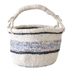 Bolga Basket - Stripe - Striped navy blue Bolga basket hand woven by weavers in the Bolgatanga region of Ghana. The entire basket is woven from recycled plastic strips. These Ghanian women artisans are known around the world for their beautiful handiwork. Durable and perfect for storage or room decor.