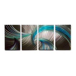 Miles Shay - Metal Wall Art Decor Abstract Contemporary Modern Sculpture- Tempest Blue Green - This Abstract Metal Wall Art & Sculpture captures the interplay of the highlights and shadows and creates a new three dimensional sense of movement as your view it from different angles.