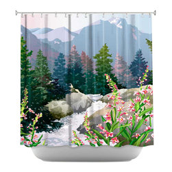 DiaNoche Designs - Shower Curtain Artistic - Mountain Stream - DiaNoche Designs works with artists from around the world to bring unique, artistic products to decorate all aspects of your home.  Our designer Shower Curtains will be the talk of every guest to visit your bathroom!  Our Shower Curtains have Sewn reinforced holes for curtain rings, Shower Curtain Rings Not Included.  Dye Sublimation printing adheres the ink to the material for long life and durability. Machine Wash upon arrival for maximum softness. Made in USA.  Shower Curtain Rings Not Included.