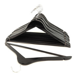 None - Black Wood Suit Hangers (Set of 48) - These classic wood suit hangers are perfect for hanging your clothes in a professional,stylish way. The hangers are built out of sturdy wood to avoid creases and wrinkles and the multiple coats of lacquer create a smooth snag-free finish.