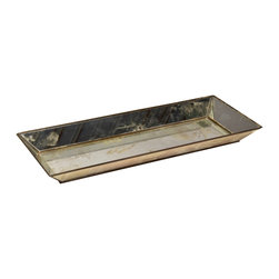 "Worlds Away - Worlds Away Tray Rectangular Mirror - This Worlds Away tray radiates modern allure on contemporary tabletops. The traditional bar accessory serves sleek style with a rectangular metal frame and antique mirror accents. 1.5""W x 6""D x 1.5""H"