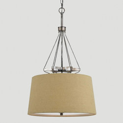 World Market - Philipa Pendant Lamp - Crafted of forged iron with a natural-toned burlap shade, our Philipa Pendant Lamp makes an eye-catching statement in any room. This elegant pendant fixture adds instant appeal to your décor at a brilliant price.