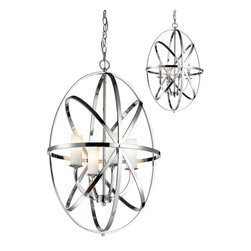 Z-Lite - Z-Lite Aranya Pendant Light X-HC-L4-7206 - Orbiting metal bands circle the contemporary inner chandelier. This family is made up of round and oval shapes finished in Chrome finishes complimented with matte opal glass.
