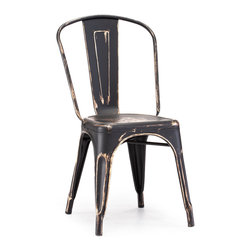 ZUO ERA - Elio Chair Antique Black Gold (set of 2) - As seen in many bistros across France, the Eilo dining chair is a classic piece used for generations. The chair is electrical plated.