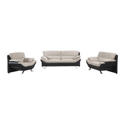 VIG Furniture - 2972 Two-Tone Black & Grey Bonded Leather 3 Piece Sofa Set - The 2972 sofa set is a great addition for any modern themed living room decor. This sofa set comes upholstered in a beautiful two-tone black and grey bonded leather in the front where your body touches. Skillfully chosen match material is used on the back and sides where contact is minimal. High density foam is placed within the cushions for added comfort. The sofa set includes a sofa, loveseat, and chair only.