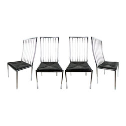 "Set of 4 Milo Baughman Chrome Chairs - Set of four chrome dining chairs designed by Milo Baughman with rush seats that are painted glossy black. Seat, 18.25""H."