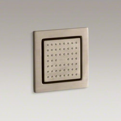 KOHLER - KOHLER WaterTile(R) square 54-nozzle bodyspray with soothing spray - WaterTile bodysprays lie virtually flush to the wall and can be placed almost anywhere. This square 54-nozzle configuration delivers a relaxing spray for a soothing hydrotherapy experience.