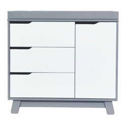 Hudson Changer Dresser, Flat Pack (Pad Not Included), Gray w/ White
