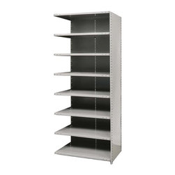 Hallowell - 87 in. High 8-Tier Medium-Duty Closed Shelving in Gray - Adder (48 in. W x 12 in - Depth: 48 in. W x 12 in. D x 87 in. H. Make over your garage, basement or workshop and add durable, stable storage with this medium-duty shelving unit, designed to link to an existing shelf for additional storage space. Made of cold rolled steel in gray finish, the unit is available in your choice of depths so you can find the right size to suit your needs. Includes 1 beaded front post, 2 angle back posts, 1 back panel and 1 side panel. Great addition to Hi-Tech medium-duty closed shelving starter unit. 8 Adjustable shelves. Fabricated from cold rolled steel. Welds are spaced 3 in. on center to provide maximum strength. Sides are triple flanged to form a channel. All 4 corners are lapped and resistance welded to provide a rigid corner and add extra strength to the shelf. Tubular front edge is designed to protect against impact loads. 48 in. W x 12 in. D x 87 in. H. 48 in. W x 18 in. D x 87 in. H. 48 in. W x 24 in. D x 87 in. H. Assembly required. 1-Year warranty