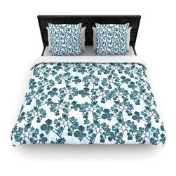 "Kess InHouse - Julia Grifol ""Green Flowers"" Teal Cotton Duvet Cover (Queen, 88"" x 88"") - Rest in comfort among this artistically inclined cotton blend duvet cover. This duvet cover is as light as a feather! You will be sure to be the envy of all of your guests with this aesthetically pleasing duvet. We highly recommend washing this as many times as you like as this material will not fade or lose comfort. Cotton blended, this duvet cover is not only beautiful and artistic but can be used year round with a duvet insert! Add our cotton shams to make your bed complete and looking stylish and artistic!"