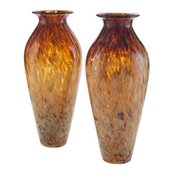 John Richard - John Richard Set of 2 Hand Blown Amber Glass Vase JRA-9220S2 - Set of 2, creamy swirls of glass seem to float on a clear amber hand blown vase. This tall elegant vase is beautiful on it's own and can be used with added greenery. A must have.