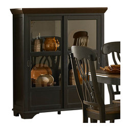 Homelegance - Homelegance Ohana 46 Inch Curio in Black & Cherry - From the Ohana collection , this curio cabinet features a quality wood construction. The dark, rich hues of this distinctive curio offer casual country elegance along with an exceptional appearance. Adjustable shelves and sliding Glass doors offer ease of access. The contrasting two-toned black and cherry finishes give this piece sophisticated timeless appeal.