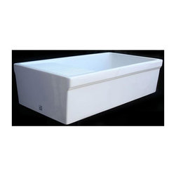 Whitehaus - 36 in. Quatro Alcove Reversible Fireclay Farm - Color: Sapphire BlueLarge Quatro Alcove reversible fireclay sink with integral drain board. Decorative 2 1/2in. lip on both sides. 3 1/2in. offset center drain. Sink is finished on all four sides. Sink tapers slightly on sides. Outer Dimensions: 36in. x 20in. x 10in.. Bowl Dimensions: 24in. x 17in. x 9in.. Board Dimensions: 10in. x 20in.