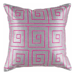 Rizzy Home - Silver and Pink Decorative Accent Pillows (Set of 2) - T04093 - Set of 2 Pillows.