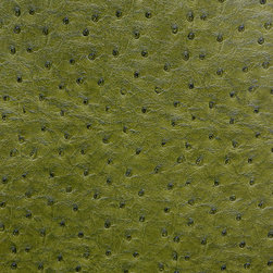 Emu Faux Leather / Vinyl Upholstery Fabric, Sage - This emu faux leather has a supple texture in dark green, and is suitable for upholstery, cornice/headboards, and other decorative uses.
