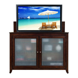 "Touchstone Home Products - Tuscany Espresso TV Lift Cabinet for Flat Screen up to 60"" - The Tuscany offers the very same TV lift technologies outfitted in a classy burnished espresso. Its deep brown tone will instantly become the focal point of any room. The Tuscany also has a touch sensor light behind the glass on the doors, which can be turned on or off by touching the right side door hinges. The cabinet is equipped with sliding rear panels for easy access to your TV connections.This heirloom-quality cabinet with Whisper Lift technology accommodates most 60"" diagonal plasma and LCD TVs. It features solid birch and gorgeous espresso veneers offset with tempered, frosted glass panels."