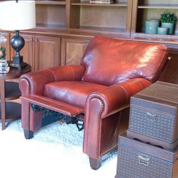 Elements Fine Home Furnishings - Garret Top Grain Leather Reclining Chair - GAR- - Upholstered in sienna top grain leather