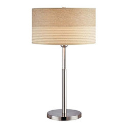 "Lite Source - Contemporary Lite Source Laller Slim-Line Table Lamp - This contemporary lamp design comes in a polished steel finish and is topped by a two-tone beige and earth-tone drum shade. A 3-way socket offers easy lighting control. From the Lite Source lighting collection. Takes one 100 watt 3-way bulb (not included). 26"" high. Shade is 14 1/2"" across the top and bottom and 8"" high.  Polished steel metal body.  Lite Source table lamp design.  Takes one 100 watt 3-way bulb (not included).   26"" high.  Shade is 14 1/2"" across the top and bottom and 8"" high."