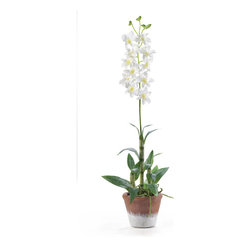 Nearly Natural - Dendrobium with White Wash Pot Silk Flower Arrangement - Brighten up your living space with this vibrant and cheerful Dendrobium silk arrangement. Standing 25 in tall this beautiful silk arrangement features stalks of delicate Dendrobium blooms and buds. Life like in appearance these stalks boast circular patches of white and green like its natural counter part. It sits in a timeless white wash pot and is a perfect fit for any decor.