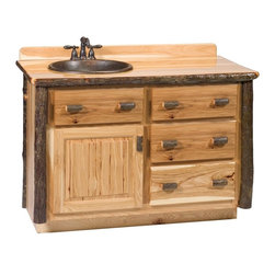 Fireside Lodge Furniture - Hickory 4 Drawer Log Vanity (60 in. w Top - C - Finish: 60 in. w Top - Center - Rustic AlderHickory Collection. 4 Drawers. Storage cabinet. Dovetailed drawers are inset for added beauty and quality. Full-extension ball-bearing glides rated at 100 pounds. All Hickory Logs are bark on and kiln dried to a specific moisture content. Clear coat catalyzed lacquer finish for extra durability. 2-Year limited warranty. Without top: 48 in. W x 21 in. D x 32.25 in. H (155 lbs.). With top: 48 in. W x 21 in. D x 33 in. H (185 lbs.). Without top: 60 in. W x 21 in. D x 32.25 in. H (170 lbs.). With top: 60 in. W x 21 in. D x 33 in. H (195 lbs.)