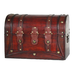 Antique Style Wood And Leather Trunk With Round Top - Can be used for storage or decoration.  Color: Antique Cherry Decorative wood trunk This decorative treasure box is gonna fill any empty place in your home or heart.
