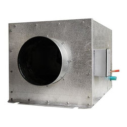 Vinotemp - 25 in. Wine Cellar Cooling System - Split system designed cooling unit. Silver color. Coverage size: good for 250 cu. ft. or approximately 1200 bottles. Includes outdoor enclosure. Assembly required. Custom made: 2 to 3 weeks lead time. Fan coil specs: 115V/60Hz, 0.8A, 30 lbs.. Condensing unit specs: 115V/60Hz, 5.7A, UL listed, 40 lbs. Evaporator: 15.88 in. W x 25 in. D x 14.38 in. H. Condenser: 19.88 in. W x 12.13 in. D x 14.38 in. H. Can be placed up to 50 feet away from the fan coil to allow for extremely quiet operation. Warranty