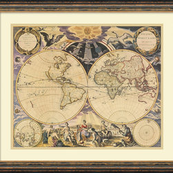 Amanti Art - Pieter Goos 'New World Map, 1676' Framed Art Print 26 x 22-inch - 'The world is a book, and those who do not travel read only a page.' Saint Augustine. Fuel your wanderlust with this vintage New World Map, 1676 by Pieter Goos.