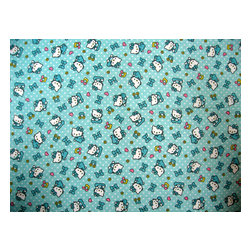 """SheetWorld - SheetWorld Crib Sheet Set, Hello Kitty Blue - This is a SheetWorld product made from Hello Kitty printed fabric.This 100% cotton flannel"""" crib / toddler sheet is made of the highest quality fabric that's double napped. That means these sheets are the softest and most durable. Sheets are made with deep pockets and are elasticized around the entire edge which prevents it from slipping off the mattress- thereby keeping your baby safe. These sheets are so durable that they will last all through your baby's growing years. We're called sheetworld because we produce the highest grade sheets on the market today. Features the one and only Hello Kitty!  Size: 28 x 52. Set includes 1 fitted sheet- 1 flat sheet- and 1 todder size pillow case."""" Made in the USA."""