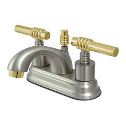 "Kingston Brass - Two Handle 4"" Centerset Lavatory Faucet with Brass Pop-up KS2609ML - This bathroom faucet features a timeless appeal with its majestic, artistic, and fashionable design. This faucet has a deck mount setup and features a 4"" centerset installation. The body is fabricated from solid brass for durability and long-lasting use. The satin nickel finish with polished brass accents resists scratches, corrosion and tarnishing. The spout has a reach of 4"" and a height of 3-1/2"". The handles allow for easy management of water volume and temperature. The faucet operates with a ceramic disc valve for droplet-free functionality with the water measured 2.2 GPM (8.3 LPM) and a 60 PSI maximum rate.  An integrated removable aerator is inserted beneath the spout's head piece for conserving water flow. A brass pop-up drain in a matching finish is included. All mounting hardware is included and standard US plumbing connections are used. A 10-year limited warranty is provided to the original consumer.. Manufacturer: Kingston Brass. Model: KS2609ML. UPC: 663370020551. Product Name: Two Handle 4"" Centerset Lavatory Faucet with Brass Pop-up. Collection / Series: Royale. Finish: Satin Nickel/Polished Brass. Theme: Contemporary / Modern. Material: Brass. Type: Faucet. Features: Drip-free ceramic cartridge system"